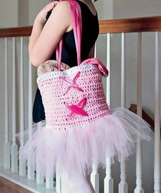 TuTu Cute Ballet Tote Bag Crochet Pattern + How to Crochet a Simple Flower by Carrie Carpenter and HappyBerry Crochet | PatternPile.com