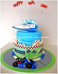 GO KART AND SPEED BOAT NOVELTY CAKE Fondant Cakes, Cupcake Cakes, Fun Cakes, Lake Cake, Cakes Sydney, Teacher Cakes, Boat Cake, Ocean Cakes, Sport Cakes