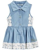 Macys- GUESS Baby Girls' Lace-Trim Denim Dress