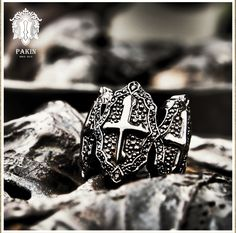 Black Cross Warrior Ring 2. Sterling Silver 925 Black Rhodium Black Spinel . www.PAKINsince2012.com   https://www.facebook.com/Pakinsince2012