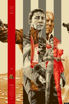 """By Martin Ansin: Looper mondo posters. Awesome juxtapositioning using """"vertical blinds"""" effect."""