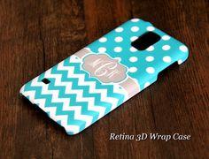 Blue Polka Chevron Monogram Samsung Galaxy S5/S4/S3/Note 3/Note 2 3D-Wrap Case