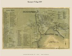 Searsport Village, Maine 1859 Old Town Map Custom Print - Waldo Co. Searsport Maine, Custom Map, Old Maps, Birds Eye View, Family History, Old Town, Vintage World Maps, The Past, Writing