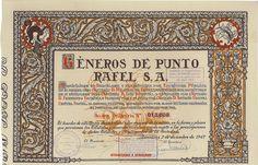 Generos de Punto Rafel, S. A. - #scripomarket #scriposigns #scripofilia #scripophily #finanza #finance #collezionismo #collectibles #arte #art #scripoart #scripoarte #borsa #stock #azioni #bonds #obbligazioni