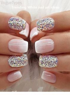 Farb Shooting Star Effekt Glitzer Nagellack – Sparkly Nails Color Shooting Star Effect Glitter Nail Polish Sparkly Nails Milky Nails, Nagel Blog, White Nail Designs, Toe Nail Designs, Dipped Nails, Fancy Nails, Sparkly Nails, White Nails With Glitter, White Summer Nails