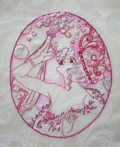 Hand Embroidery and Print - woman with wine glass