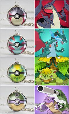 SHINY Mega Pokemon themed pokeballs, Mega Charizard X & Y, Mega Venusaur and Mega Blastoise