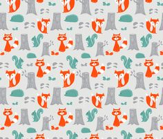 Woodland Creatures Fabric - Modern Scattered Creatures On White By Emilyannstudio - Woodland Cotton Fabric By The Metre by Spoonflower Baby Fabric, Good Night Moon, Retro Fabric, Woodland Creatures, Spoonflower Fabric, Stuffed Animal Patterns, Surface Design, Custom Fabric, Decorative Items