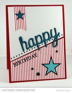 Blueprints 18 Die-namics, Happy Trio Die-namics. Celebrate You, Pinstripe Background - Michele Boyer  #mftstamps