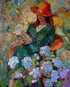 "Reading Woman   Sally Rosenbaum   8"" x 10"" SIGNED print, $16.50"