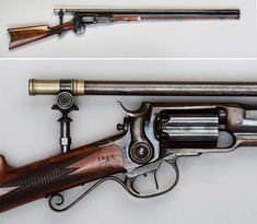 Colt Root revolving rifle Designed by Elisha K. Root and manufactured by Colt's Patent Firearm Manufacturing Co. - serial number cap and ball six-shot fluted cylinder, single action with what appears to be a dual set trigger, Winchester scope. Weapons Guns, Guns And Ammo, Military Weapons, Revolver Rifle, Hunting Rifles, Fantasy Weapons, Cool Guns, Le Far West, Old West