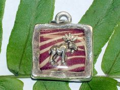 Pewter with brown and cream stripe print & sterling silver moose pendant-resin