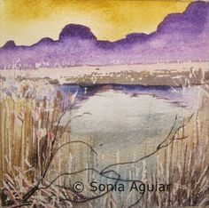 "Original watercolor by Sonia Aguiar. ""Intimate landscape"""