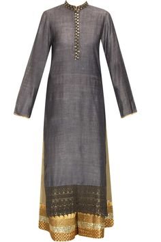 Grey embroidered kurta set with printed scarf available only at Pernia's Pop-Up Shop.