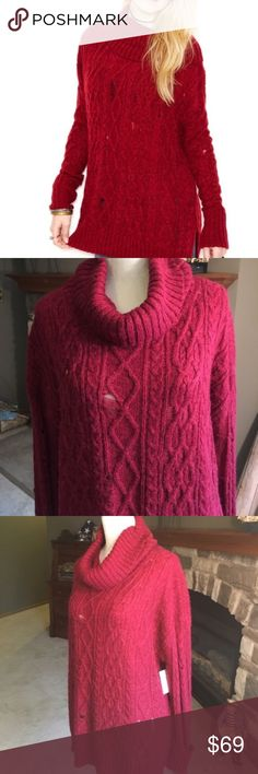 Free People Rip and repair cowl neck sweater NWT Red cowl neck rip and repair sweater. NWT still available at Macy's for $128. Free People Sweaters Cowl & Turtlenecks
