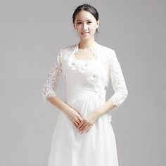 Delicate Half-Sleeve Lace Wedding/Evening Jacket/Wrap (More Colors) – USD $ 44.99