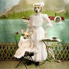 The good fairy - la bonne fée   by Martine Roch. Anthropomorphic dogs digital art.