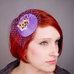 Lilac Fascinator Lilac-Yellow Flower Pansy от ImogensImagination