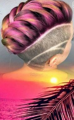 Pink yellow pastel hair color with shaved sides @vanessastylesyou