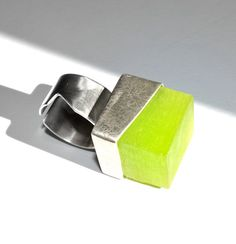 Sterling silver and green resin geometric by MinimallyMeJewelry