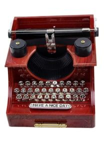 Typewriter Pattern Clockwork Mechanism Music Box Retro Style Decoration Office for sale online Orange Wall Clocks, Old Fashioned Typewriter, Desktop Metal, Prices Candles, Wall Clock Wooden, Vinyl Record Clock, Rug Texture, T Lights