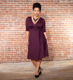 Poetic Wrap Dress in Purple Passion by Kiyonna (A simple, classic wrap with 3/4 sleeves that could be dressy, casual or professional depending on how you accessorize. Love it!)