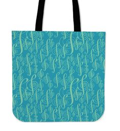 Printed Tote Bags, Cotton Tote Bags, Reusable Tote Bags, Music Shoes, Treble Clef, Tracking Number, Bag Making, Musicians, Turquoise