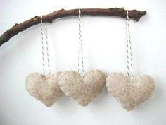 Oatmeal Heart Eco Felt Ornament - Handmade - Valentine's Day - Christmas Tree Ornament - Wedding Favor - Holiday Decoration. $12.50, via Etsy.