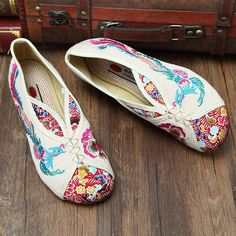 9cb775cc9bd Hot-sale Phoenix Embroidered Old peking Vintage Flat Shoes - NewChic