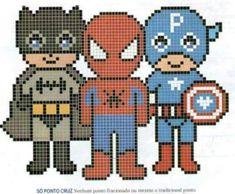 Marvel Cross Stitch, Mini Cross Stitch, Beaded Cross Stitch, Cross Stitch Patterns, Pixel Pattern, Pattern Art, Batman Quilt, Baby Boy Knitting Patterns, Graph Paper Art