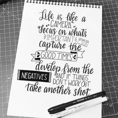 Life is like a camera - handlettering calligraphy quotes Calligraphy Quotes Doodles, Doodle Quotes, Hand Lettering Quotes, Creative Lettering, Calligraphy Letters, Typography Quotes, Art Quotes, Inspirational Quotes, Lettering Ideas