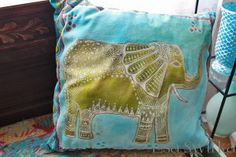 Hand stitched, hand painted throw pillow cover over down insert