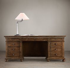 """RH's St. James 76"""" Desk:Evoking the architectural classicism of turn-of-the-century design, St. James is grand in both scale and beauty."""