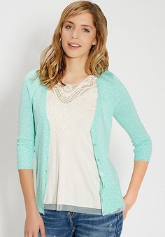 the classic cardi in dot print in soft mint | maurices