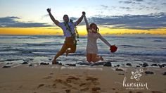 A wedding ceremony I performed at Velzyland Beach on the North Shore of Oahu at sunset.