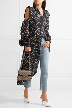 Gucci | Dionysus mini coated-canvas and suede shoulder bag | NET-A-PORTER.COM
