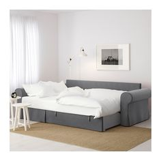 BACKABRO Slaapbank met chaise longue - -, Nordvalla donkergrijs - IKEA - comes with storage in the chaise lounge part