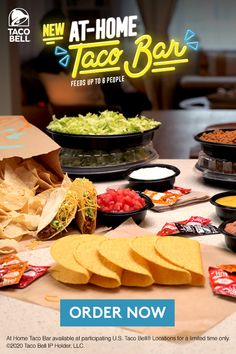 Bring your favorite crunchy, cheesy, spicy ingredients home from Taco Bell. Remake your Taco Bell favorites or make up your own delicious creations. Fix it up as many ways as you can mix it up with the new At-Home Taco Bar from Taco Bell. Meat Recipes, Gourmet Recipes, Mexican Food Recipes, Appetizer Recipes, Cooking Recipes, Appetizers, Party Food Bars, Party Food Platters, Taco Bar