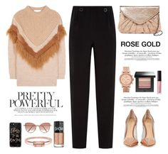 """""""rose gold"""" by selenawil ❤ liked on Polyvore featuring Ted Baker, Urban Expressions, Gianvito Rossi, STELLA McCARTNEY, FOSSIL, Maybelline, Laura Mercier, Casetify, Cutler and Gross and Bing Bang"""