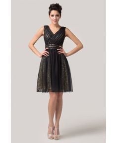 Black V-Neck Sequined Sleeveless Chiffon Mini Cocktail Dress from Graciella's. Saved to Black & White. Black Prom Dresses, Formal Dresses, Cocktail Dresses Uk, Sequin Bridesmaid, Formal Wear, Chiffon, Sequins, V Neck, My Style