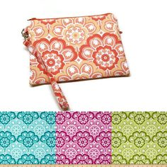 Floral medallion double zippered iphone wristlet by ItsSewYouDear