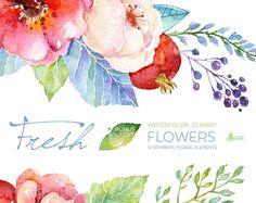 Fresh Flowers Clipart Bouquet. Handpainted por OctopusArtis