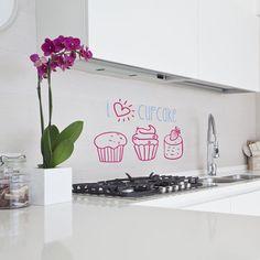 Vinilo Decorativo para cocina. I love Cupcakes.