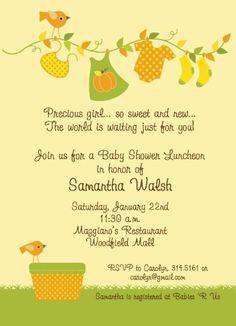 Fall Baby Shower - Girl invitations