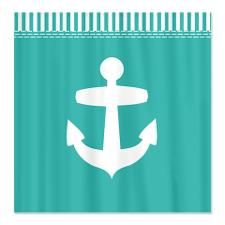 Aqua Teal Anchor Shower Curtain. Like the teal not so sure bout the anchor