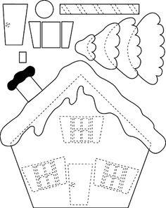 Use this for felt gingerbread house? Artesanato e Cia: Moldes de Natal
