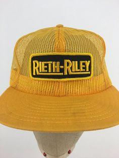0ad1b578d601a Vintage 80s Rieth-Riley Construction Snap-Back Trucker Hat