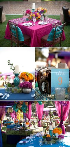 indian wedding Jewel Tones and Centerpieces Indian Inspired Wedding I prefer pink table blue pillows purple center pieces Indian Wedding Decorations, Wedding Themes, Wedding Colors, Indian Decoration, Wedding Parties, Outdoor Decorations, Table Decorations, Trendy Wedding, Our Wedding