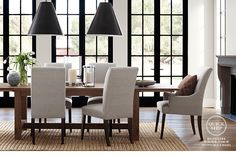 Wood table, linen chairs