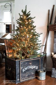 Rustic winter decorating with black, white and wood - Winter tree in an antiques crate. Part of Rustic winter decorating with black, white and wood. Small Christmas Trees, Prim Christmas, Farmhouse Christmas Decor, Merry Little Christmas, Winter Christmas, Vintage Christmas, Christmas Holidays, Primitive Christmas Decorating, Cabin Christmas Decor